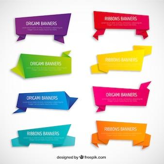 Variété de bannières d'origami
