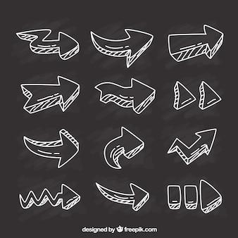 Variété de flèches dessinées à la main