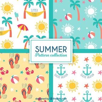 Variété de motifs décoratifs d'été en conception plate