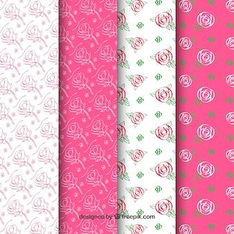 Variété de motifs mignons de roses