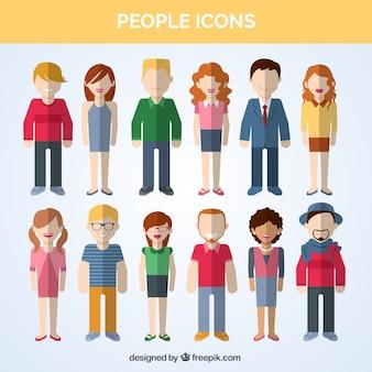 Variété de personnes icônes