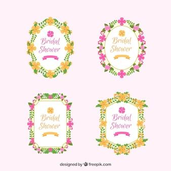 Variété de plats floraux cadres nuptiales de douche