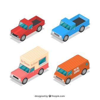 Variété de véhicules isométriques