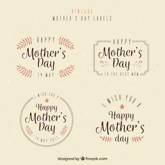 Variété des étiquettes de fête des mères millésime