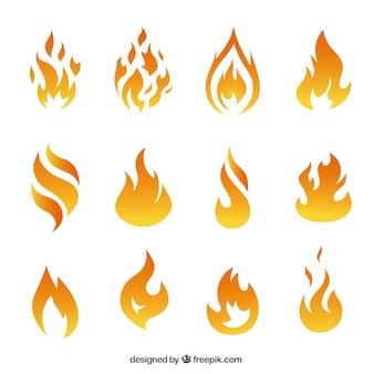 Variété des flammes de feu