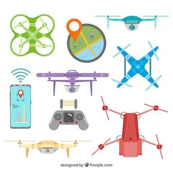 Variété plate de drones colorés