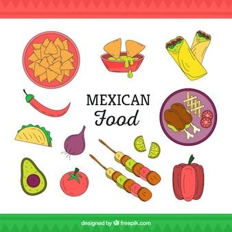 Vartiety de la main dessiné un plat mexicain typique