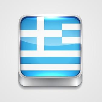 Vecteur 3d icône de drapeau de style de la Grèce
