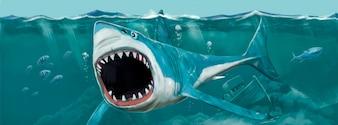 Vecteur d'illustration peinte à la main de requin sauvage