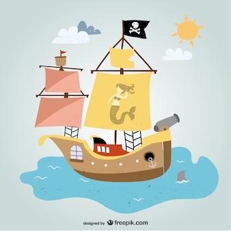 Vecteur de bateau de pirate art