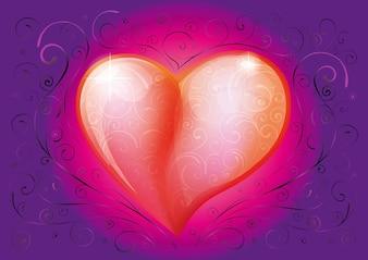Vecteur de coeur rouge et violet