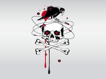 Vecteur de crâne de sang des os morts Creepy