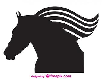 Vecteur de silhouette de cheval emblème