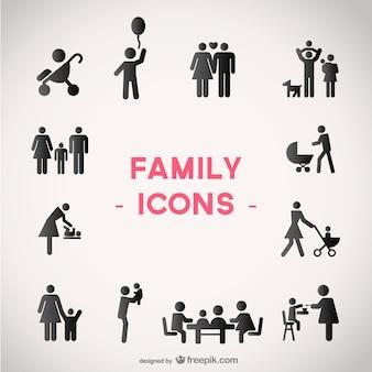 Vecteur icônes de la famille mis en