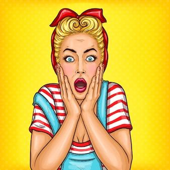 Vecteur pop art femme ménagère surprise avec bouche ouverte
