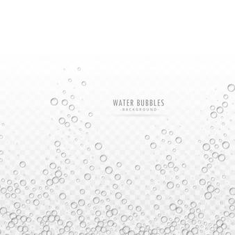 Vecteur transparent de bulles d'eau sur fond blanc