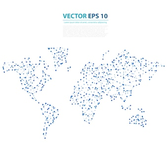 Vector Abstract Telecommunication Earth Map.