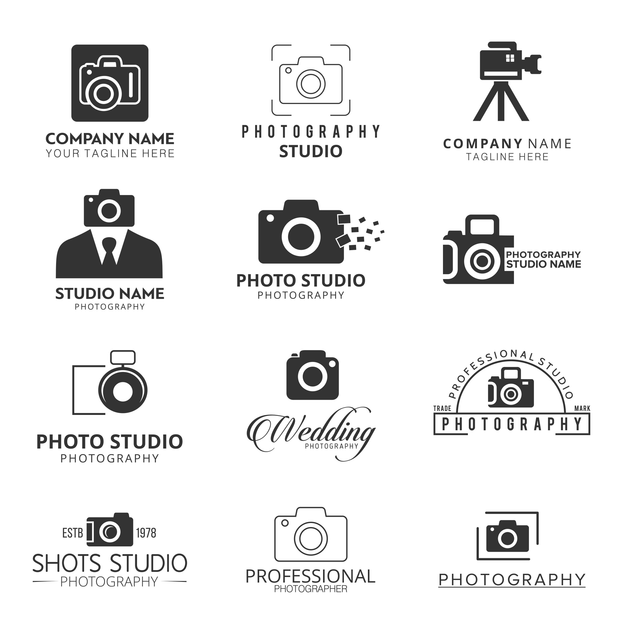 Vector Black Icons for Photographers 12