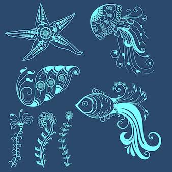 Vector des créatures marines abstraites dans le style indien Mehndi. Résumé de l'illustration vectorielle florale du henné. Élément de conception.