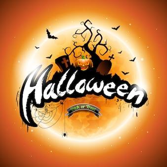 Vector Happy Halloween illustration avec la citrouille et la lune sur fond orange.