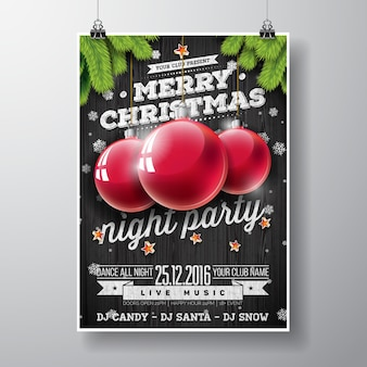 Vector Joyeux Noël Party design avec éléments de typographie de vacances et boules de verre sur fond de bois vintage.