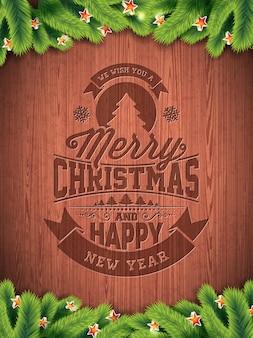 Vector Joyeux Noël vacances et bonne année illustration avec conception typographique et flocons de neige sur fond de bois wintage.