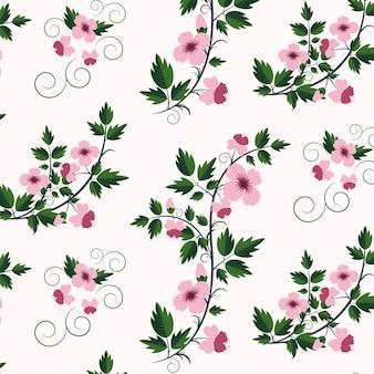 Vector retro motif floral avec des fleurs