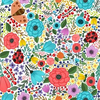 Vector seamless pattern avec des plantes et des fleurs d'été colorées