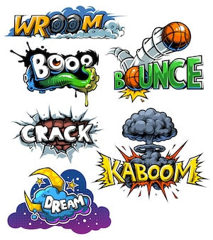 Vector set of comics icons