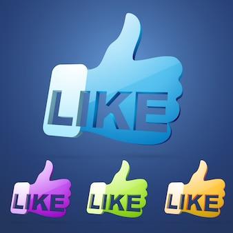 Vector social like thumb illustration