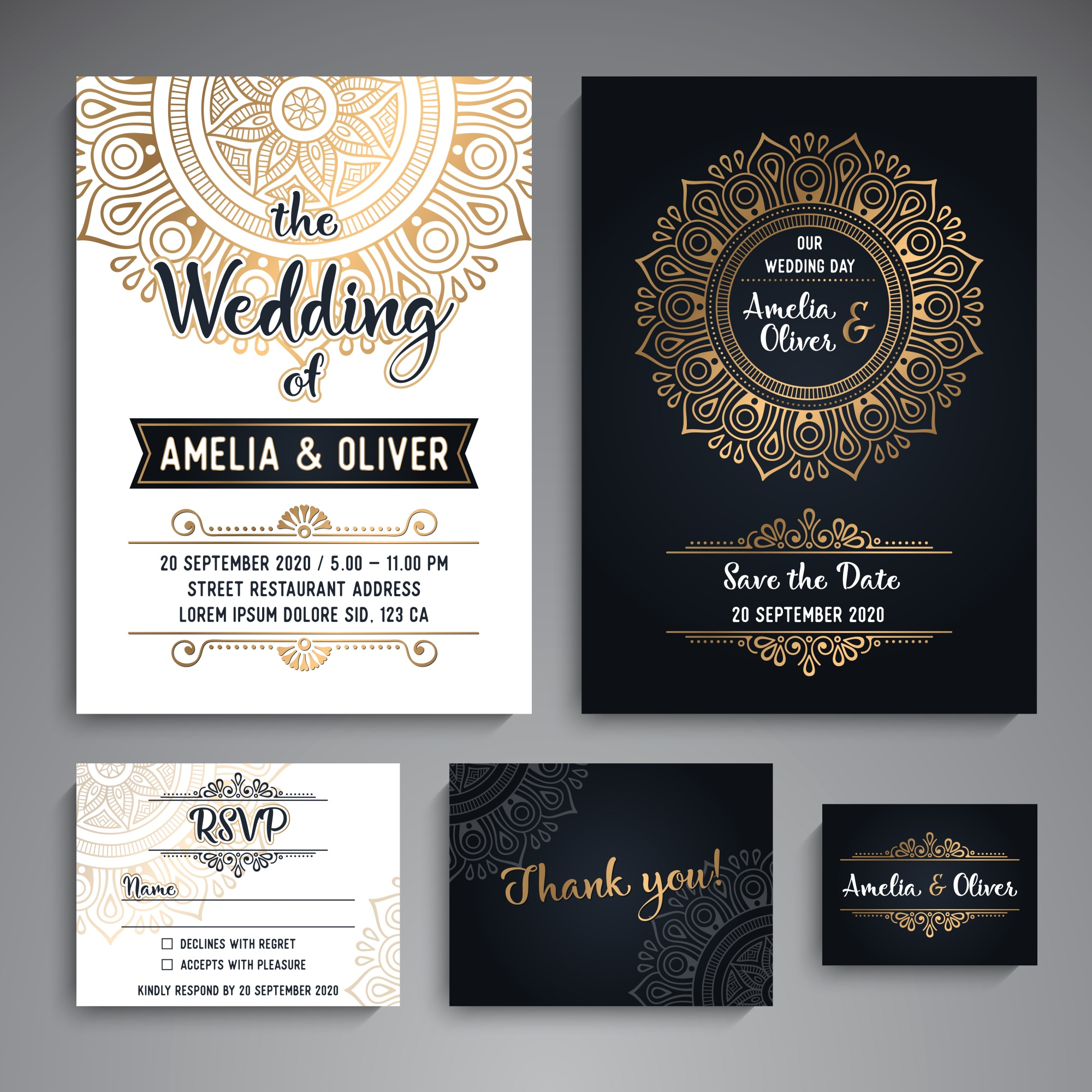 Vector Wedding cards Vintage Decorative elements with mandala