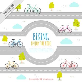 Vélo et route fond
