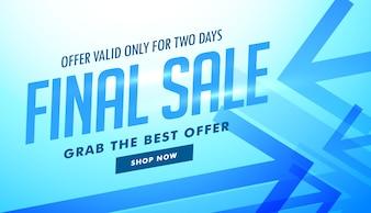 Vente bannière publicitaire avec des flèches bleues pour la publicité