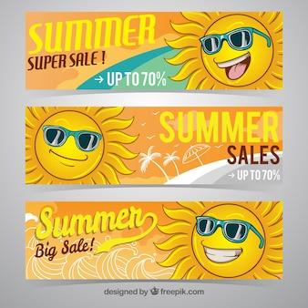 Vente de bannières d'été avec un grand personnage solaire