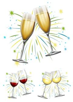 Verre à vin et illustration de verres à champagne