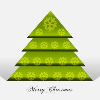 Vert arbre de Noël avec des flocons de neige