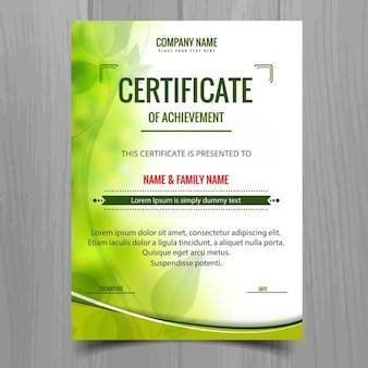 Vert brillant modèle de certificat