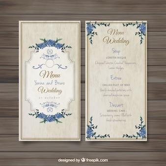 Vieille menu de mariage démodé