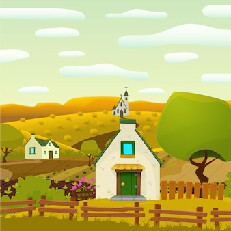 Village de printemps carrée illustration de bande dessinée paysage vecteur