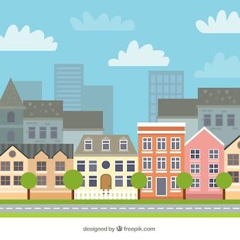 Ville avec de belles maisons de fond