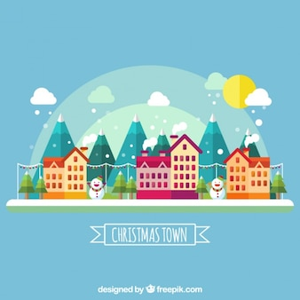 Ville mignon avec des maisons et des montagnes en design plat