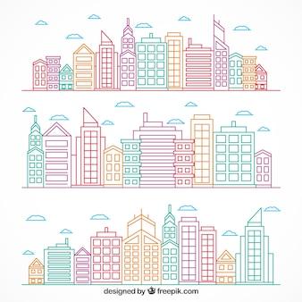 villes modernes dessinés à la main de couleur fixés