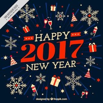 Vintage background de bonne année 2017 avec des éléments et des flocons de neige