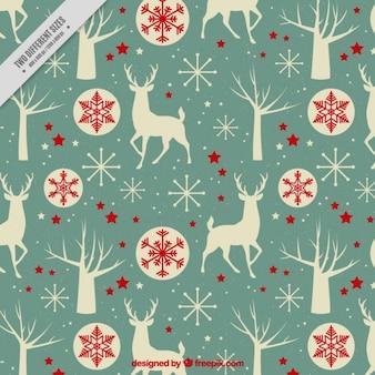 Vintage background de rennes et des boules de Noël