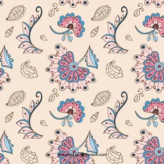Vintage batik pattern en beige