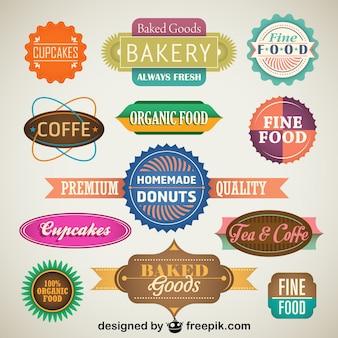 Vintage ensemble d'étiquettes des produits alimentaires et des badges