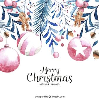 Vintage fond de boules de Noël et décoration aquarelle