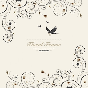 Vintage frame floral background