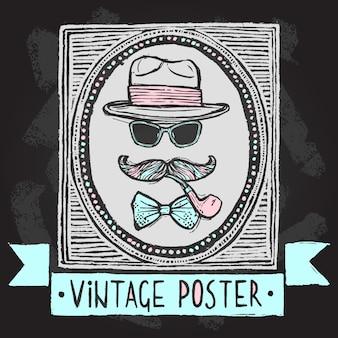 Vintage gentleman déguisement ensemble de chapeau lunettes de soleil moustaches et pipe de tabac illustration vectorielle affiche