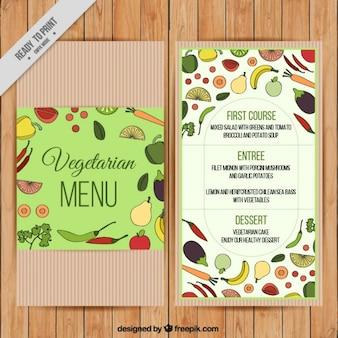 Vintage menu végétarien avec la main tirée des aliments sains